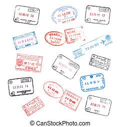 selos, jogo, vário, passaporte, visto