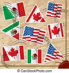 selos taxa postal, bandeiras