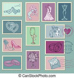 selos taxa postal, vetorial, casório