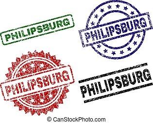 selos, textured, danificado, philipsburg, selo