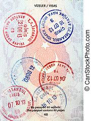 selos, visto, passaporte, turco