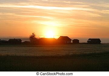 selský, východ slunce