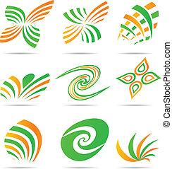 selskab, sæt, logos.