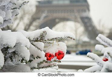 selten, verschneiter , eiffel, baum, paris., dekoriert, turm, weihnachtstag
