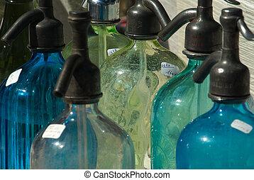 Seltzer - Row of seltzer bottles seen at an antique store