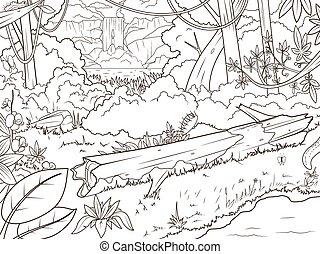 selva, bosque, waterfal, libro colorear, caricatura