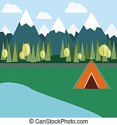 selvagem, acampamento, natureza