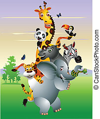 selvagem, animal africano, caricatura