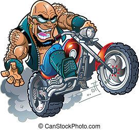 selvagem, biker, calvo, dude