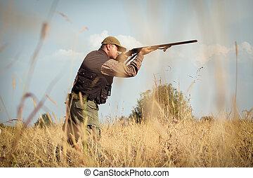 selvagem, caçador, caça, pato