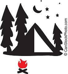 selvagem, campfire, acampamento