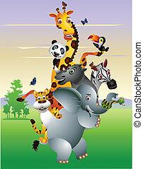 selvagem, caricatura, animal, africano