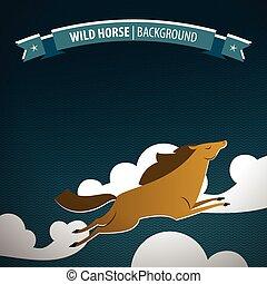 selvagem, cavalo marrom, cartaz