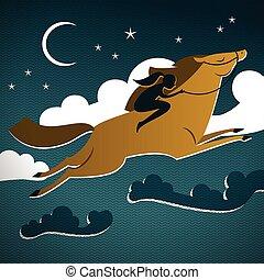 selvagem, cavalo marrom, composição