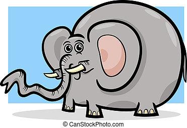 selvagem, elefante, caricatura, ilustração, animal