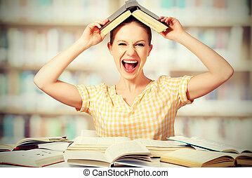 selvagem, estudante menina, com, óculos, gritos, com, livros