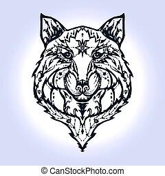 selvagem, lobo, tatuagem