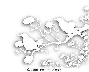 selvagem, pássaros, cutout