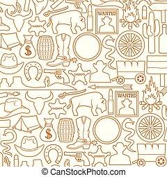 selvagem, padrão, oeste, fundo, ícones