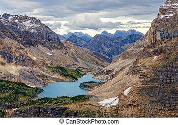 selvagem, paisagem, alcance montanha, e, lago, vista, alberta, canadá