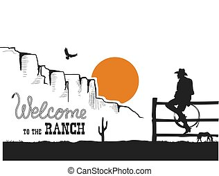 selvagem, paisagem., americano, bem-vindo, ranch., oeste, deserto, pôr do sol, boiadeiro