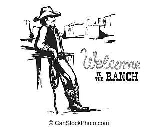 selvagem, paisagem., americano, bem-vindo, ranch., oeste, pôr do sol, boiadeiro