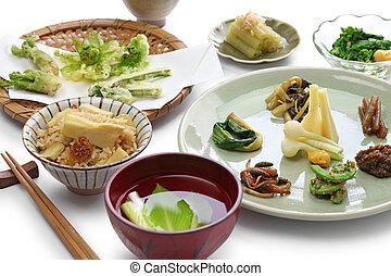 selvagem, plantas comestíveis, cozinha, japoneses
