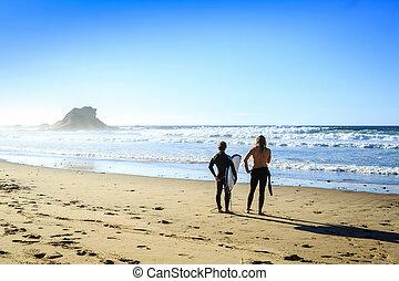 selvagem, praia, ocidental, portugal, surfistas