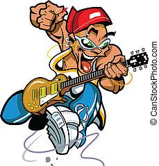 selvagem, rocha, jogador violão