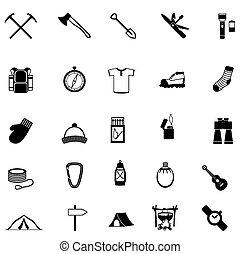 selvagem, sobrevivência, ícones