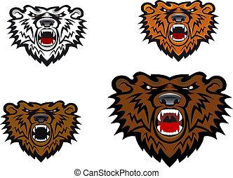 selvagem, tatuagem, urso