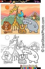 selvagem, tinja livro, animais, caricatura