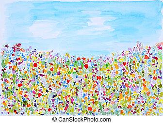 selvagem, verão, aquarela, flores