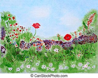 selvagem, verão, flores, aquarela