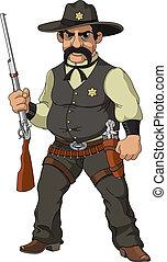 selvagem, west., caricatura, xerife