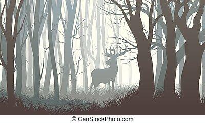 selvatico, alce, illustrazione, wood.