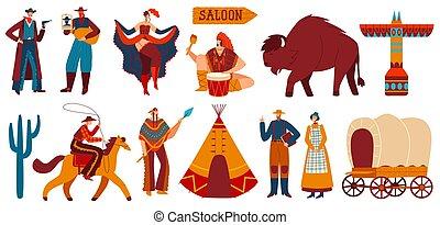 selvatico, americani, icone, cowboy, ovest, persone, vettore, illustrazione, nativo, isolato, set
