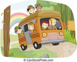 selvatico, autobus, bambini, stickman, campeggio