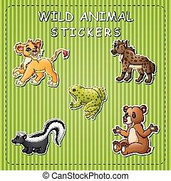 selvatico, carino, adesivo, animali, cartone animato