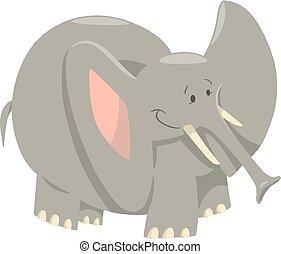 selvatico, cartone animato, animale, elefante