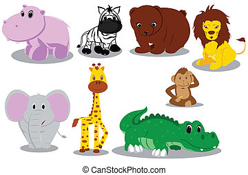 selvatico, cartoni animati, animale