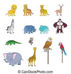 selvatico, colorare, set, animale