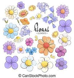 selvatico, fiori bianchi, fondo