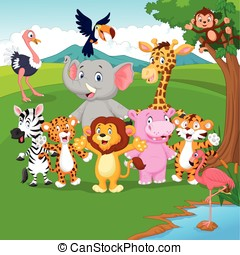 Carino giungla animale cartone animato carino vettore - Animale cartone animato immagini gratis ...