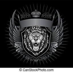 selvatico, insegne, leone