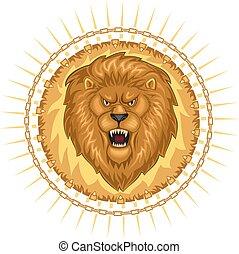 selvatico, leone, ruggire, testa
