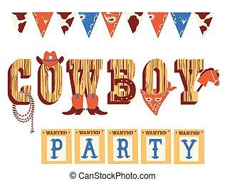 selvatico, occidentale, ovest, testo, elementi, decorazione, cowboy, isolato