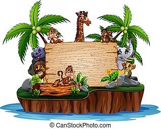 selvatico, segno, animali, isola, legno