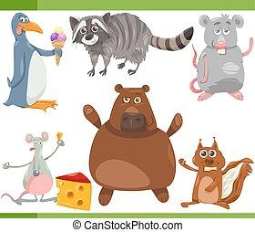 selvatico, set, animali, cartone animato, illustrazione