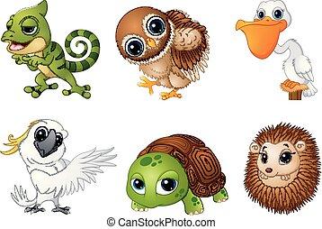 selvatico, set, cartoni animati, animale